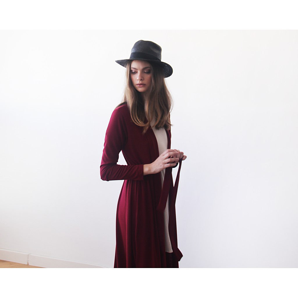Knitted maxi bordeaux cardigan with pockets ,Red maxi knit autumn coat - Maison du Roi - 1