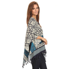 Womens Pullover Lightweight Poncho with Wooden Beaded Tassels - Maison du Roi - 6
