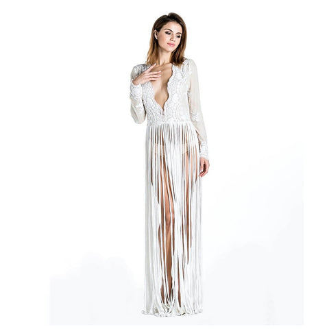 Sexy White Exotic Maxi Tassel Dress - Maison du Roi - 1