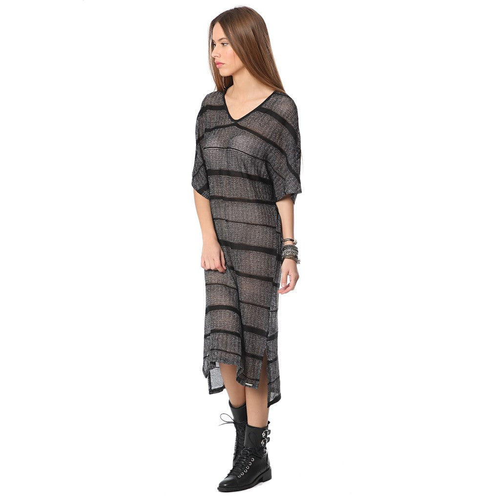 Stripe dress with cage detail - Maison du Roi - 1