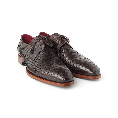 Paul Parkman Men's Brown Genuine Python Derby Shoes (ID#66CK94-BRW) - Maison du Roi - 1