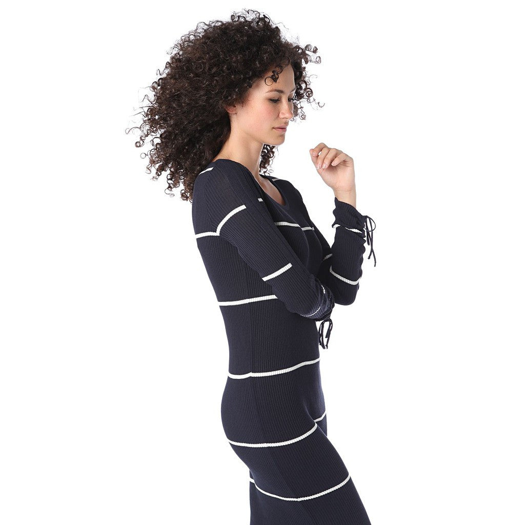 Navy blue stripe maxi dress in ribbed jersey - Maison du Roi - 3