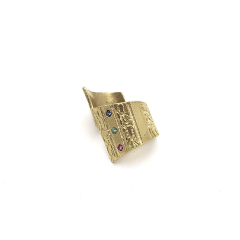 Asymmetric 3 Stone Ring-Gold - Similar to Cartier - Maison du Roi - 1