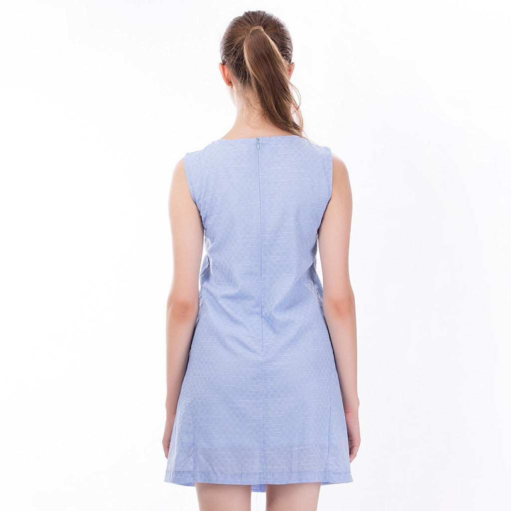 The Asymmetric Sundress in Blue - Maison du Roi - 2