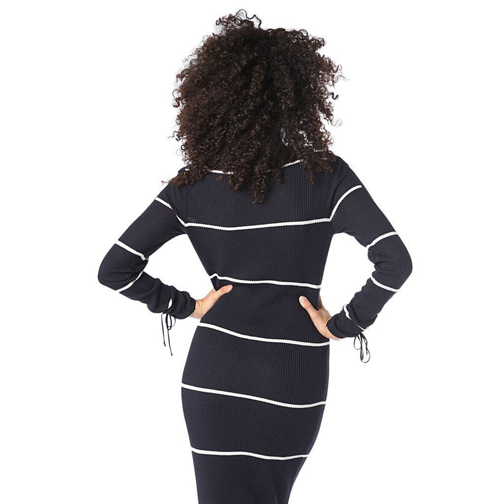 Navy blue stripe maxi dress in ribbed jersey - Maison du Roi - 2