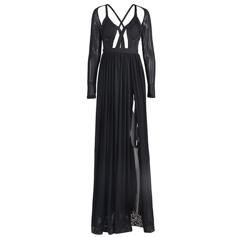 Sexy Slit Black Evening Gown - Maison du Roi - 1