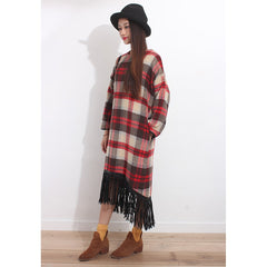 Tartan Oversized Furry Dress - Maison du Roi - 2