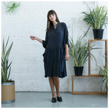 Oversized Buttoned Shirt Dress,Dropped Waist Shirt Dress, Dark Grey. - Maison du Roi - 6
