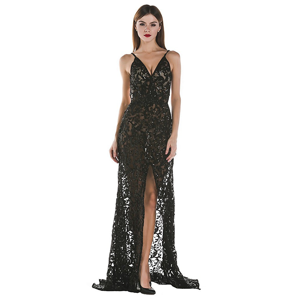 Black Open Back Evening Dress - Maison du Roi - 1
