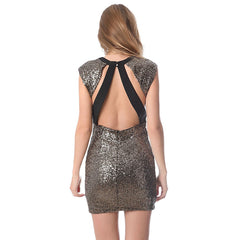 Golden sequin bodycon dress with open back - Maison du Roi - 3