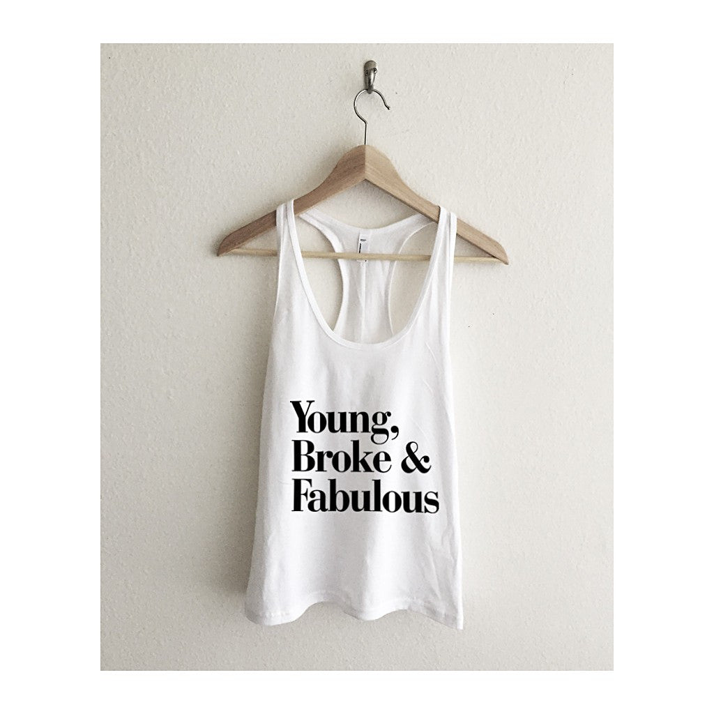 Young Broke Fabulous Typography Fine Jersey Racerback Tank Top - Maison du Roi - 4