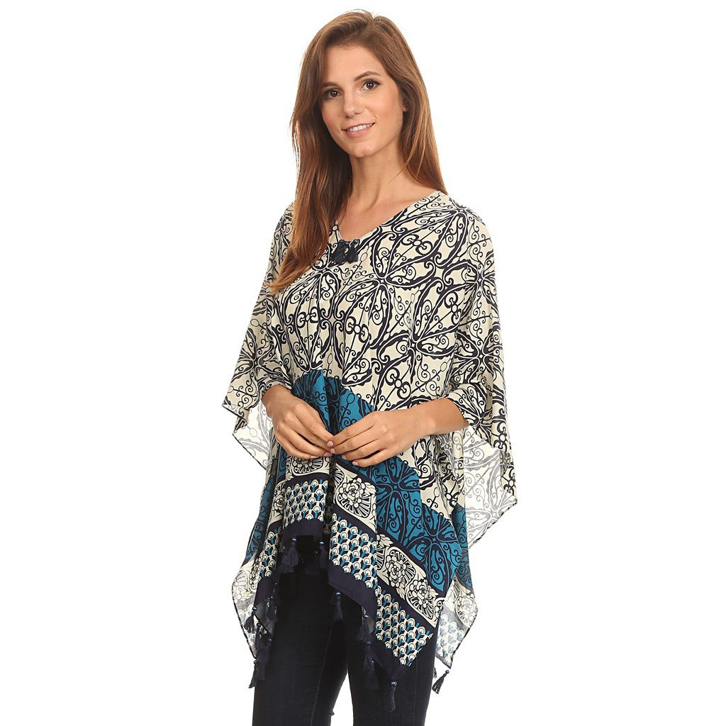 Womens Pullover Lightweight Poncho with Wooden Beaded Tassels - Maison du Roi - 5