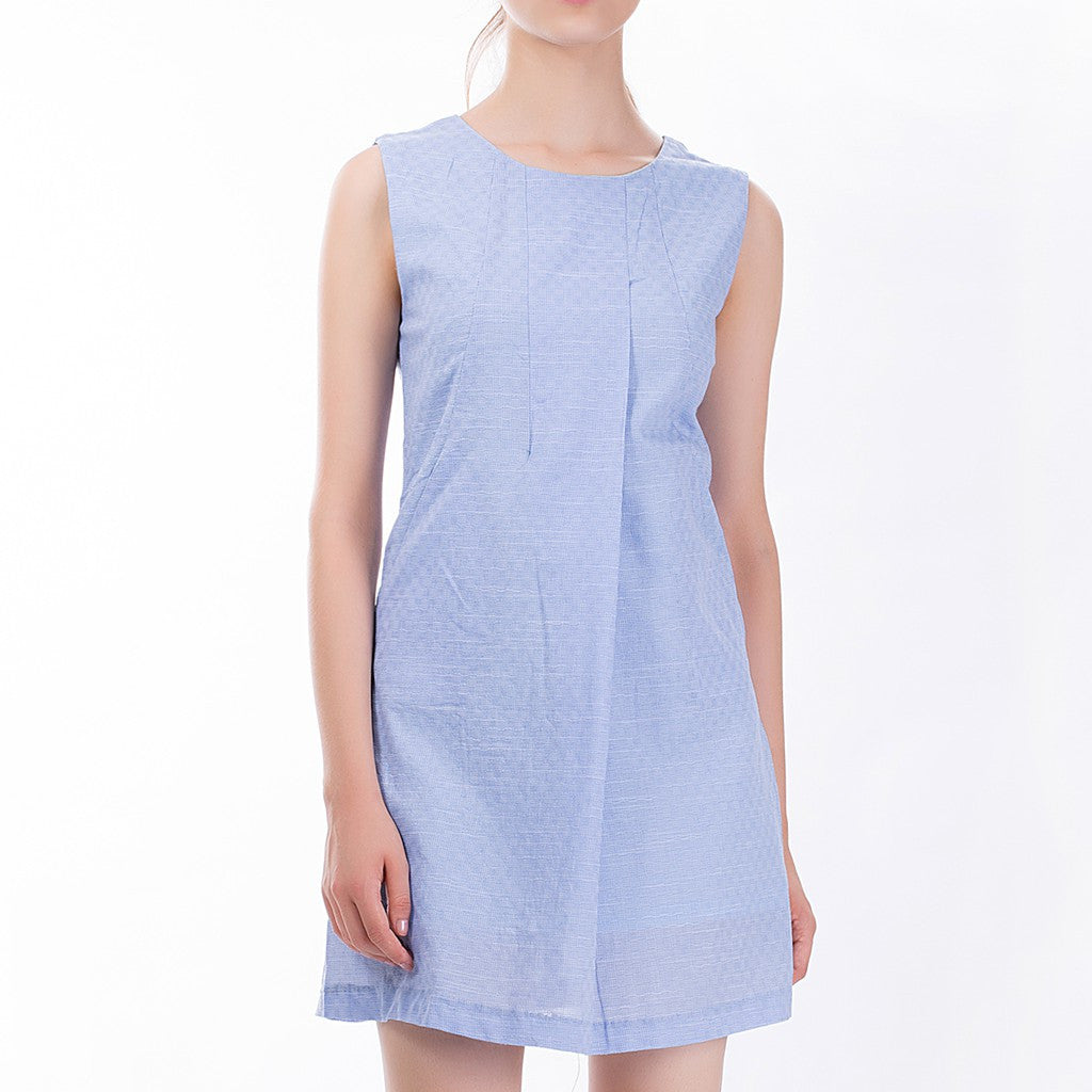 The Asymmetric Sundress in Blue - Maison du Roi - 3