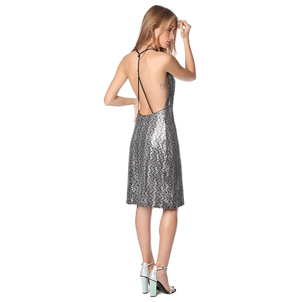 Silver brocade print dress with strappy back - Maison du Roi - 1