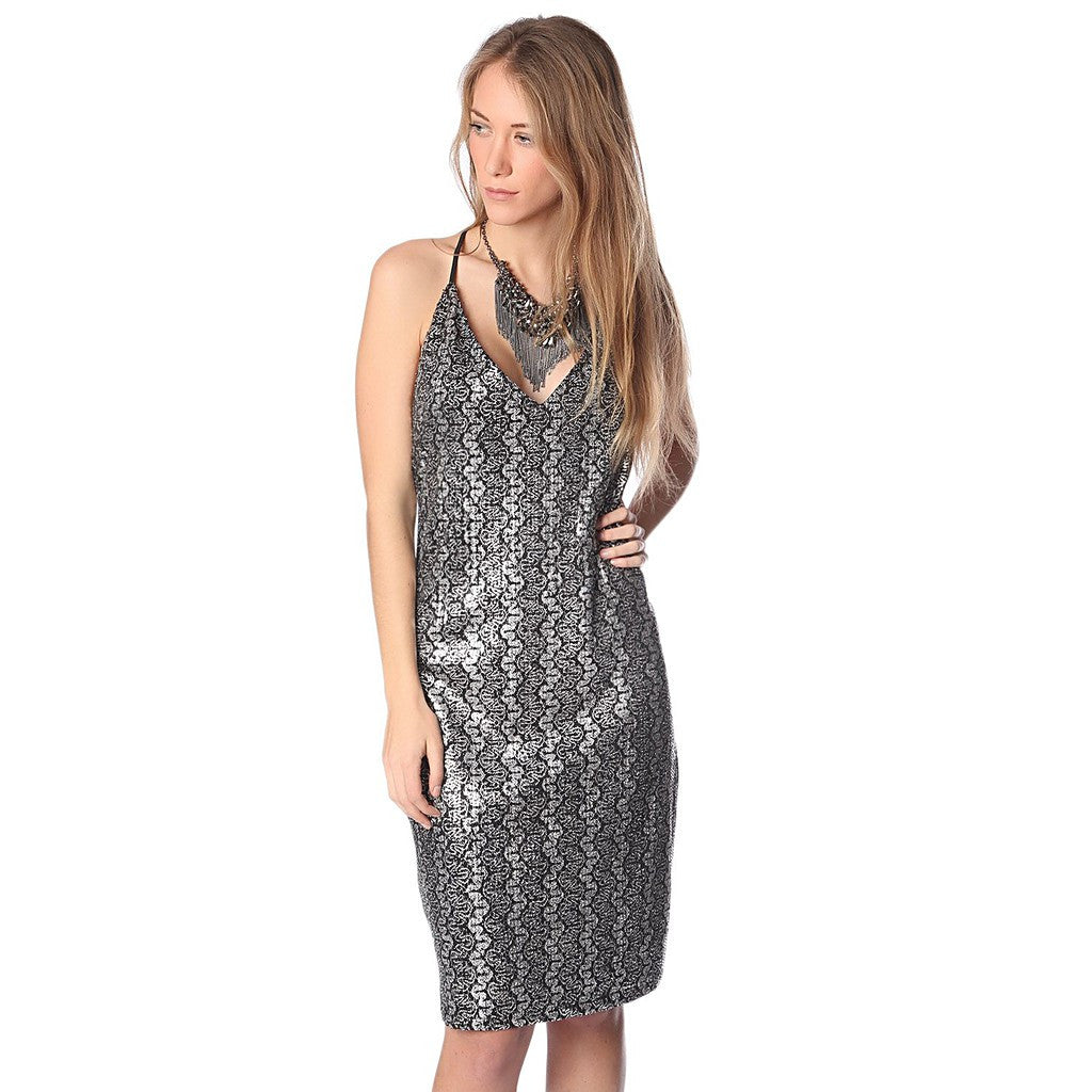 Silver brocade print dress with strappy back - Maison du Roi - 2