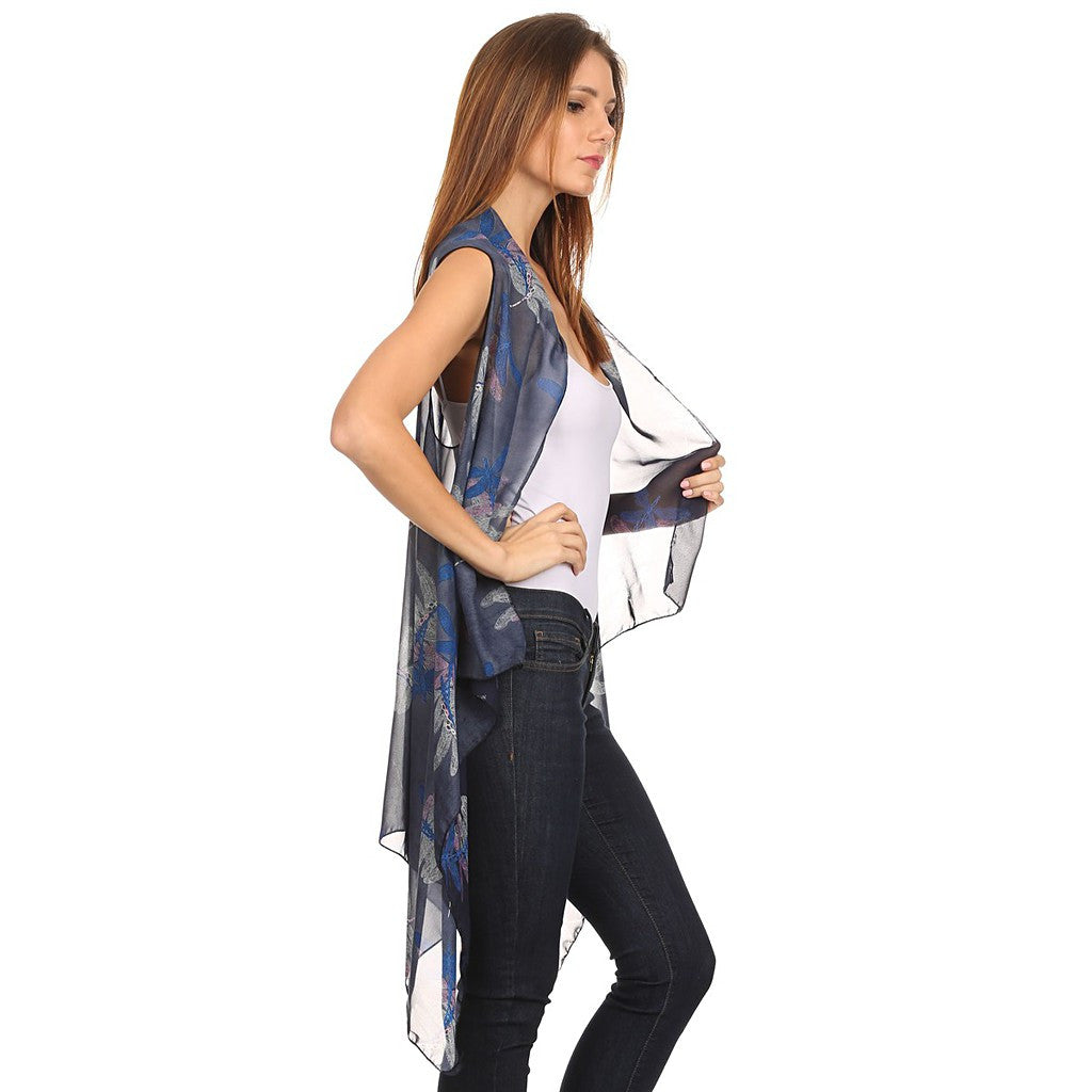 Womens Mid-length Lightweight Open Front Sleeveless Poncho. Dragonfly pattern. - Maison du Roi - 3