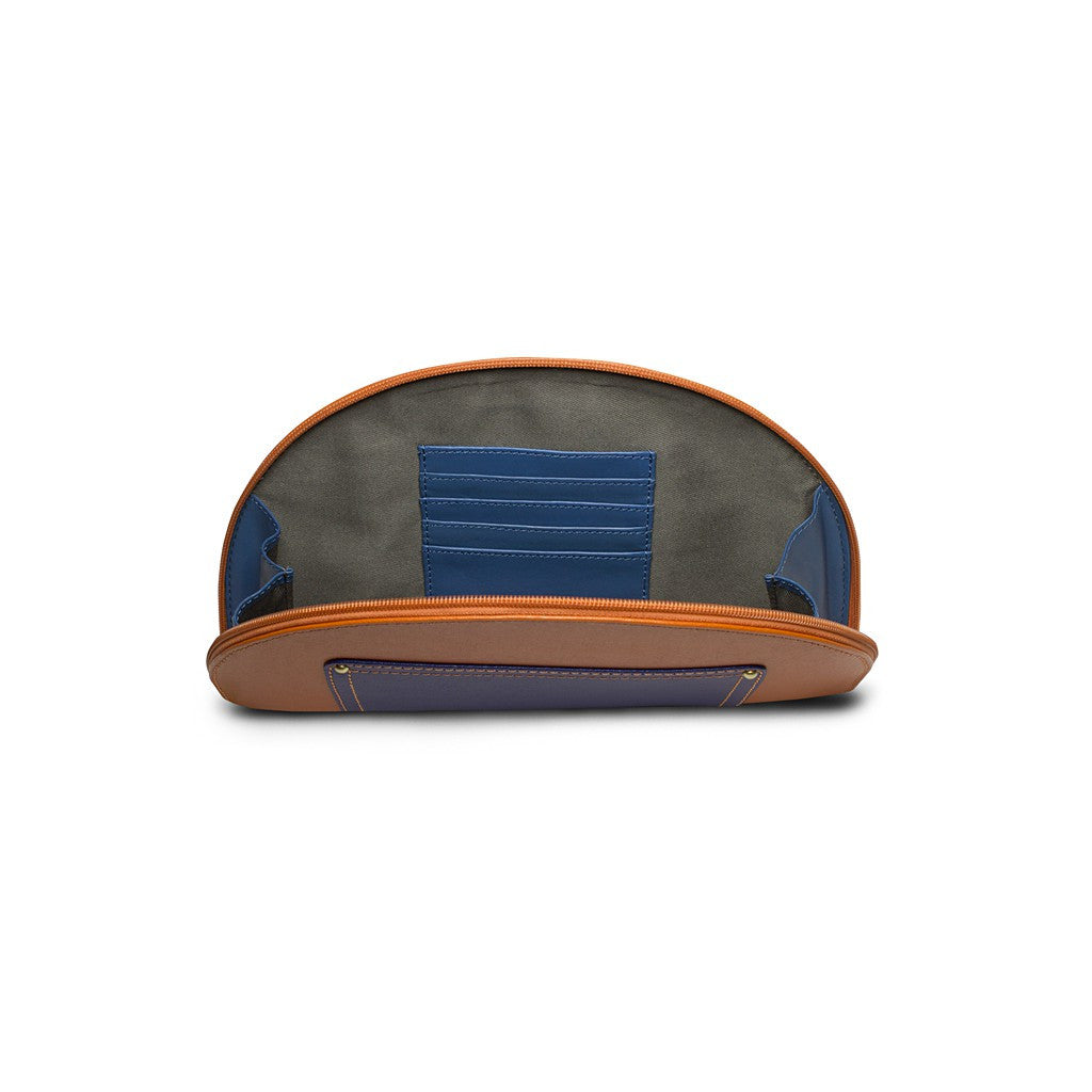 Orange/Navy Saffiano Leather Clutch - Hoopoe - Similar to Fendi - Maison du Roi - 3