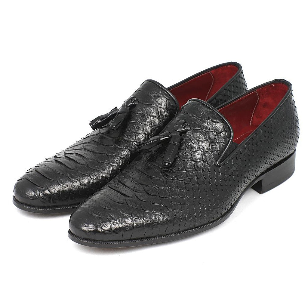Paul Parkman Men's Black Genuine Python Tassel Loafers (ID#26GH41) - Maison du Roi - 6
