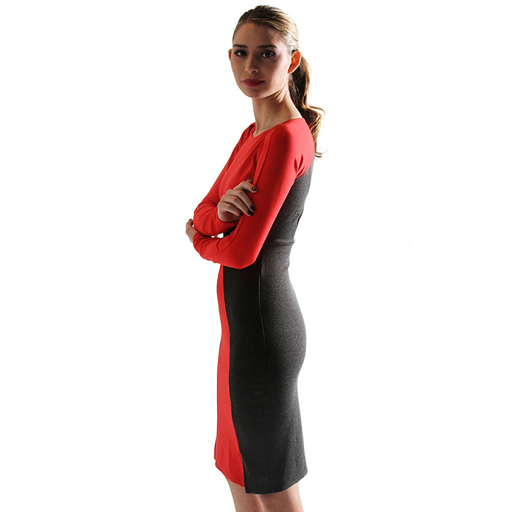 Victoria Color-blocked Ponte Dress - Maison du Roi - 3