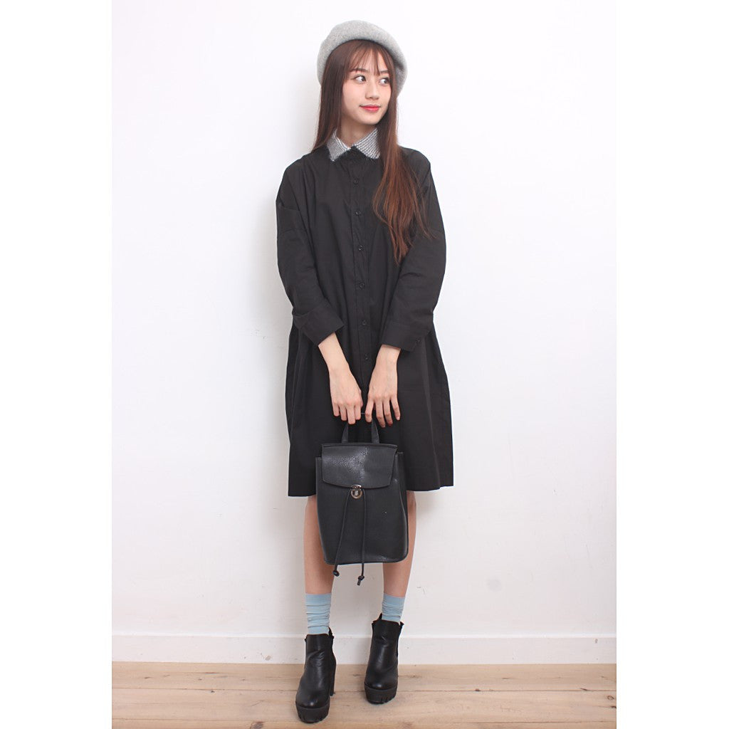 Hairy Jacquard Knit Collar Shirt Dress - Maison du Roi - 6