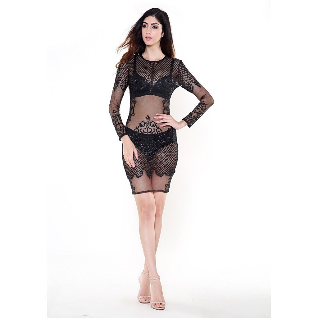 Black See Thru Dress - Maison du Roi - 1