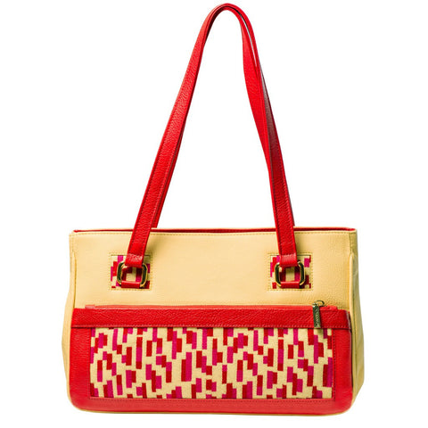 TATI BODUCH Designer Handbag, Mosaic Collection, leather yellow