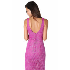 Fuchsia maxi dress with textured sparkle effect - Maison du Roi - 2