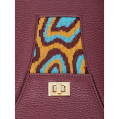 TATI BODUCH Designer Handbag, AGATE Collection, genuine leather: brown, knitwear: turquoise - Maison du Roi - 4