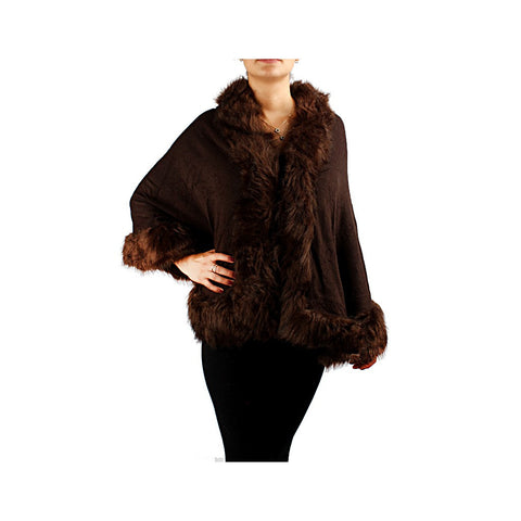 Brown Faux Fur Shawl Poncho - Maison du Roi