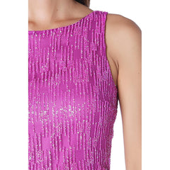 Fuchsia maxi dress with textured sparkle effect - Maison du Roi - 5