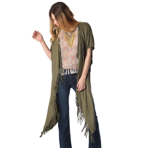 Green asymmetric longline cardigan with fringe detailing