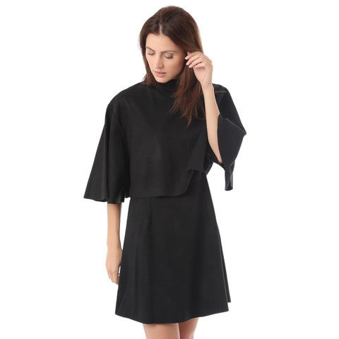 Black double layer shift dress with turtleneck