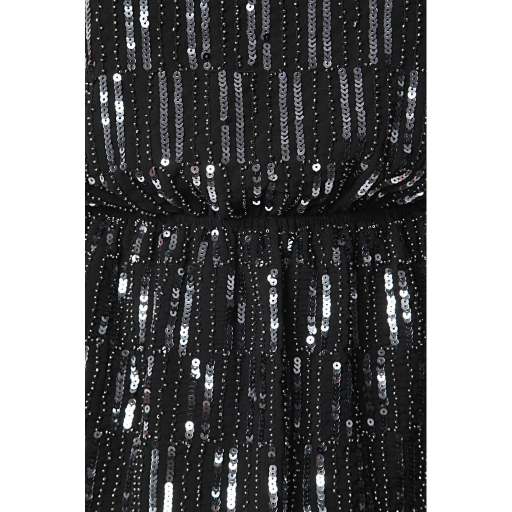 Silver sequin embellished dress with deep V-back