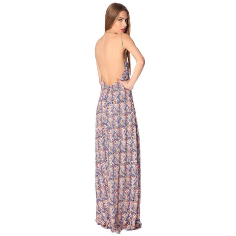 Blue maxi dress in paisley with open back