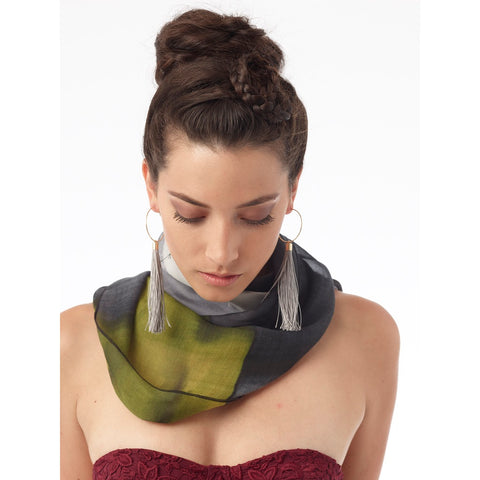 Ellen Brook Silk Infinity Scarf in Black and White
