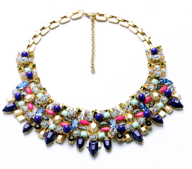 Mixed Metal Blue Bib Necklace