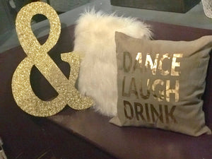 Dance Laugh Drink pillow cover in Gold