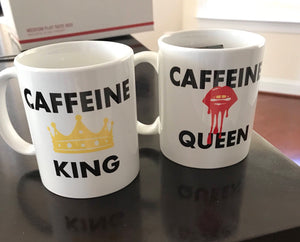 Caffeine Queen and King Mug Set