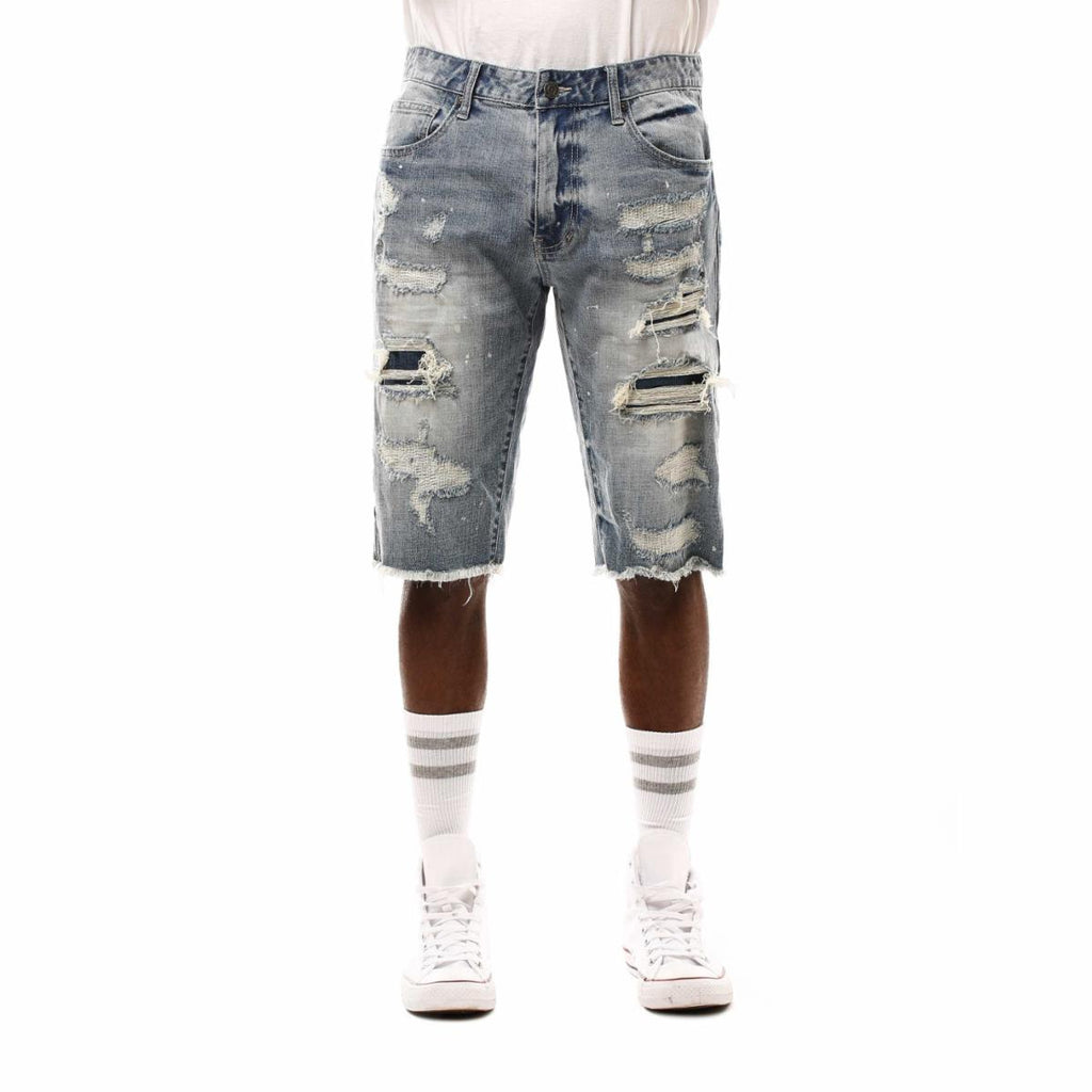 Smoke Rise Fashion Denim Shorts (Meteor Blue)