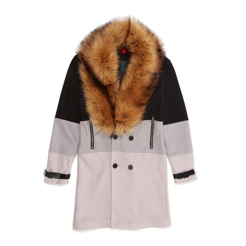 Vie+Riche Removable Fur 3 Tone Overcoat