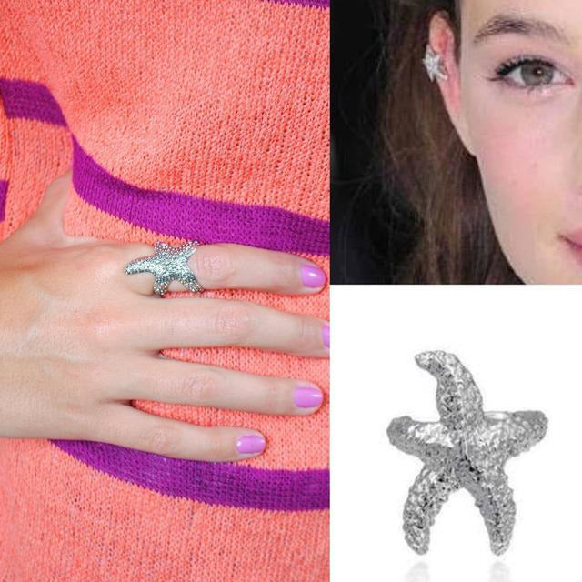 Set Starfish Anillo+Earcuff Arete