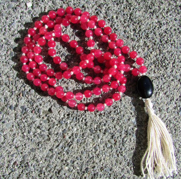 Mala- No. 110: cherry quartz & jet, white knots & tassel