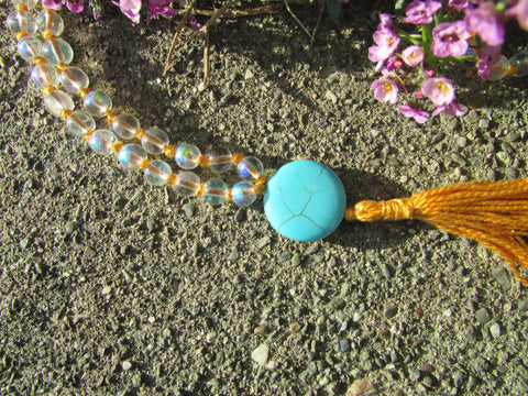Mala- No. 108: iridescent glass beads & turquoise howlite, gold knots & tassel