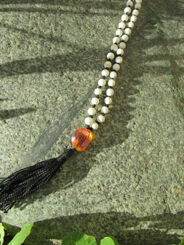 Mala- No. 113: white howlite & amber faceted glass, black knots & tassel