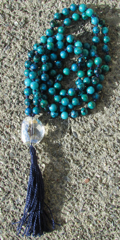 Mala- No. 119: sapphire jasper & clear faceted glass, navy knots & tassel