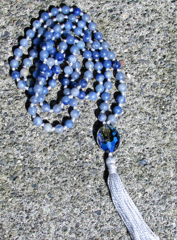 Mala- No. 132: blue aventurine & blue faceted glass, silver knots & tassel