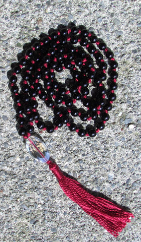 Mala- No. 135: black jasper & iridescent faceted glass, burgundy knots & tassel