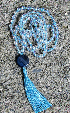 Mala- No. 134: iridescent glass & blue striped shell, turquoise knots & tassel