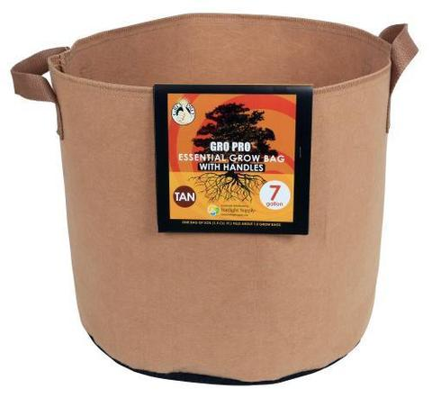 Gro Pro Fabric Pot 7gal with handles Tan