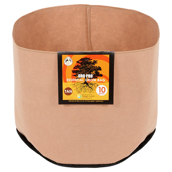 "Gro Pro Fabric Pot 10gal no handles Tan  18""dx12.2""h"